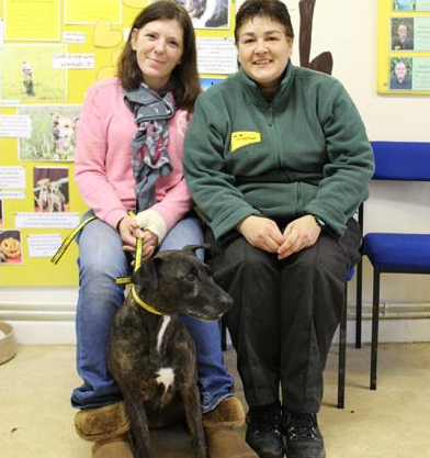 Mia, reunited with her owner