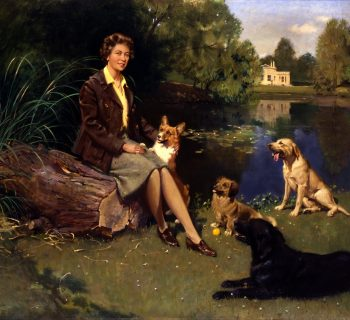 'Her Majesty The Queen at Frogmore with Her Dogs'