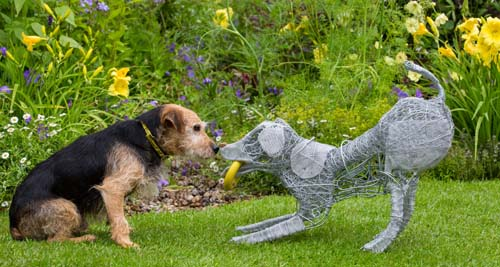 "Jeff Moore 29/06/16 ""FREE FOR EDITORIAL USE"" Ben the Terrier cross; Sue the Pug and Marky the Westie test out the features in Dogs Trust's show garden at Hampton Court Flower Show 2016. Ben, Sue and Marky are all looking for new homes at Dogs Trust West London."