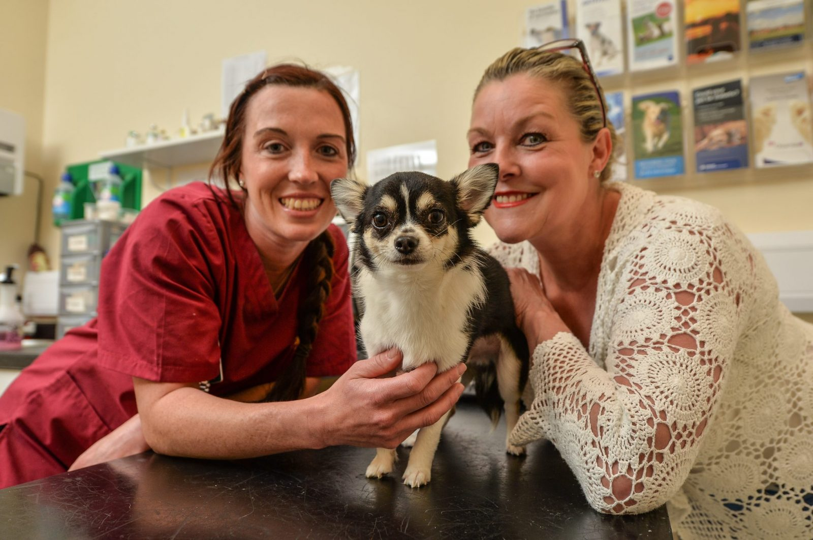 Loui pictured with Head Vet Gill and owner Sharon