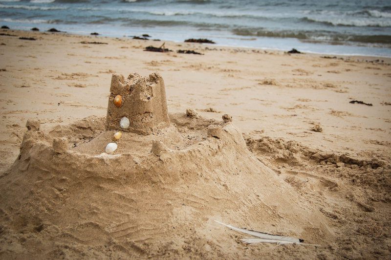 Sandcastle on Alnmouth beach, Northumberland