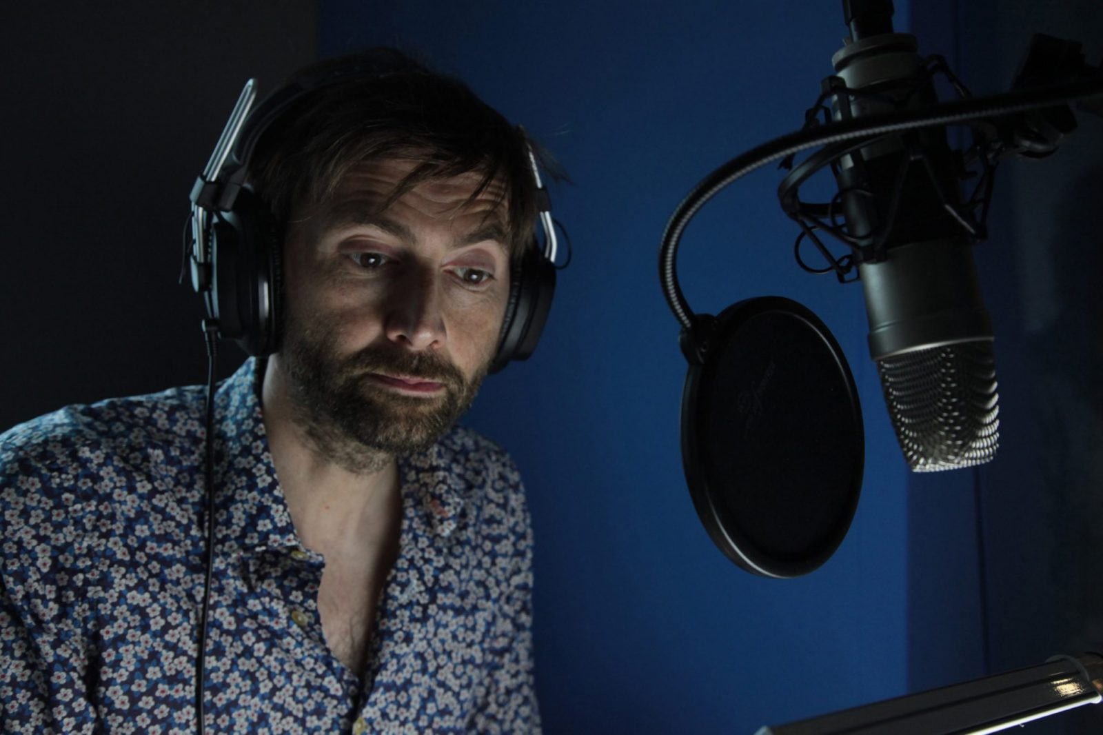 David Tennant features in the first films for cats and dogs that have been scientifically developed to reduce stress caused by fireworks. The free films have been created by MORE TH>N Pet Insurance and can be viewed here: www.youtube.com/morethan This picture: David Tennant is pictured in a recording studio providing narration for the stress-busting films for cats and dogs. Each part of David's script, including specific words, cadence, intensity, volume and pitch were designed to aid relaxation among cats and dogs.