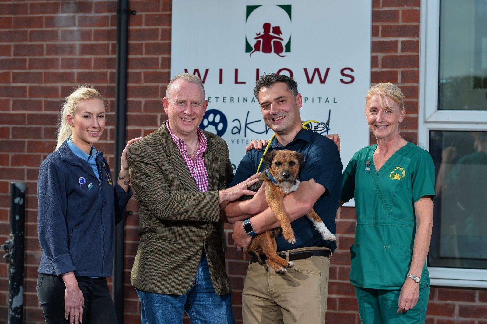 Pictured from left to right are; Larissa Domini, Willows Veterinary Hospital receptionist, Graham Evans MP, Bruce Waddell, Clinical Director at Willows Veterinary Hospital (first opinion), and Clare Sutton, Head Veterinary Nurse at Willows Veterinary Hospital, with Alfie.