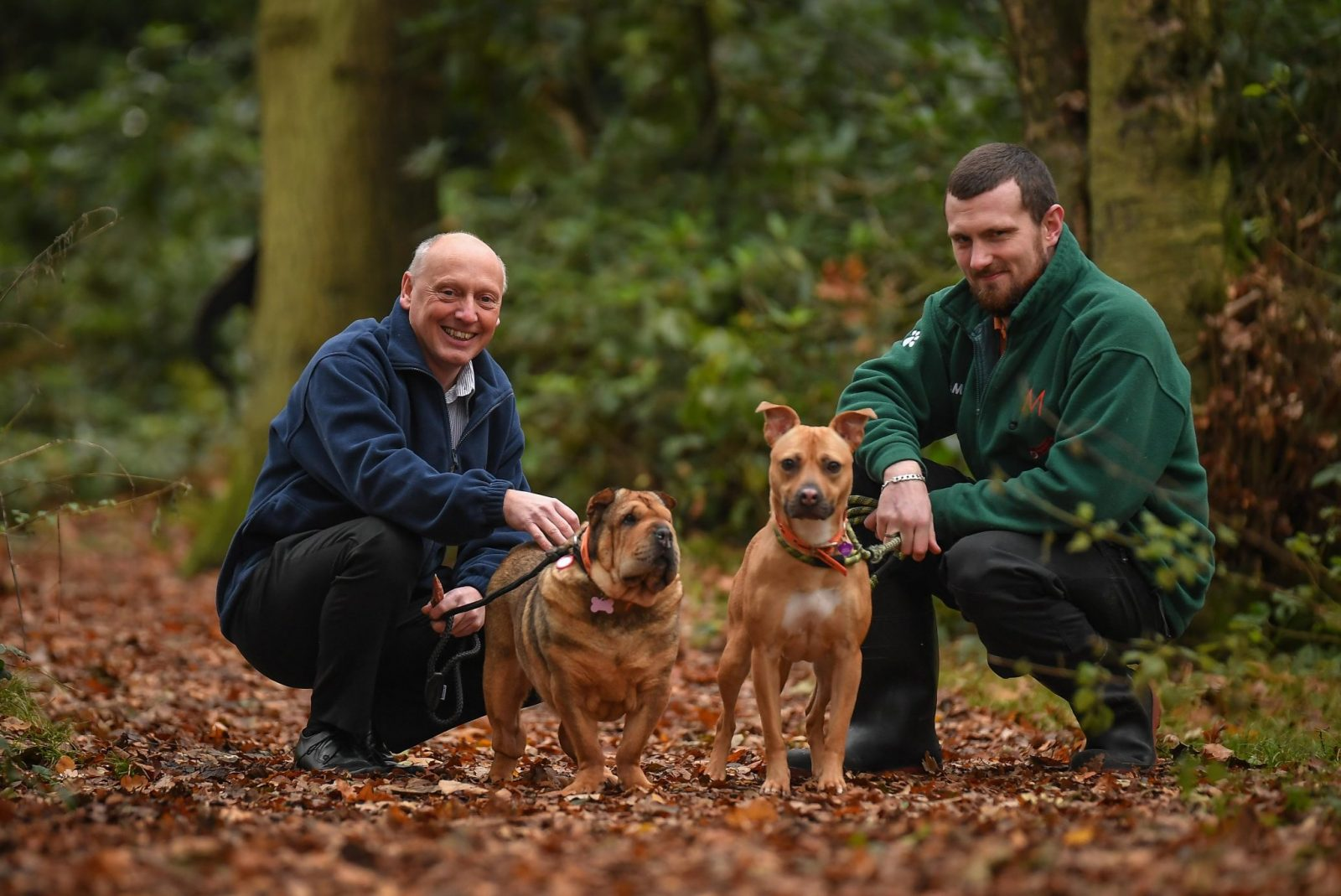 David Crane of Willows Veterinary Group is pictured left with Home Assistant Will Featonby and pawsome pair Ruby and Ellie.