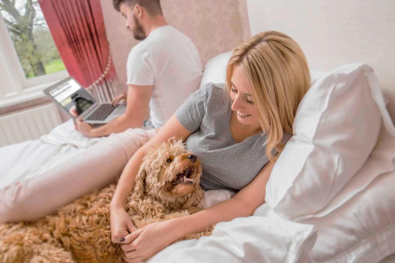 Dog comforting female