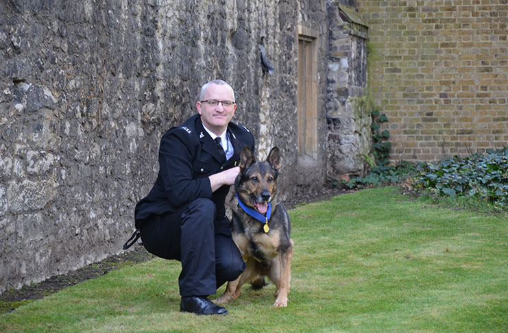 PC Dave Wardell and Finn who he now owns as a family pet.