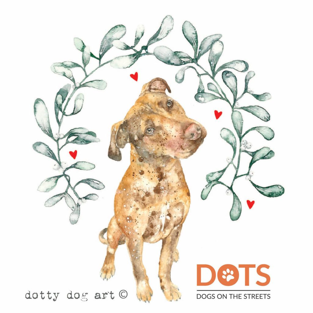 Christmas card created by Dotty Dog Art for DOTS