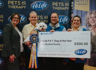 HiLife PAT Dog of the Year winners Barry and Bella with the PAT Team and HiLife's Gayle Eason (far left)