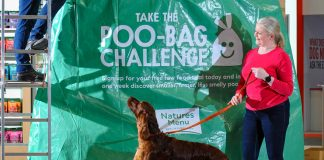 Natures menu giant poo bag at Crufts