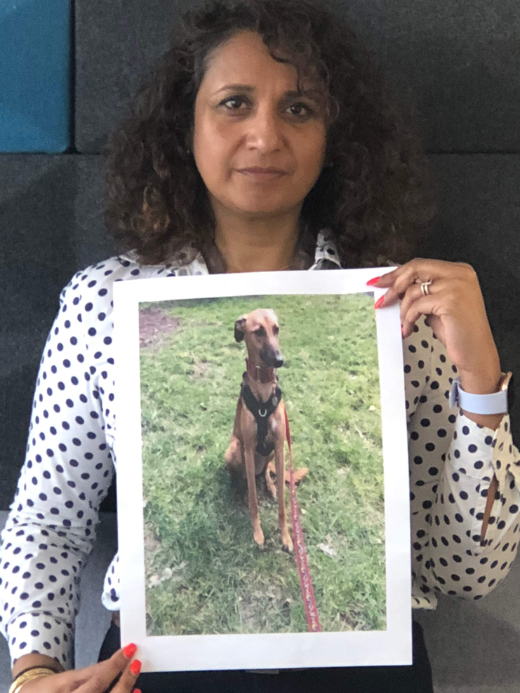 Ruby's photo held by her owner