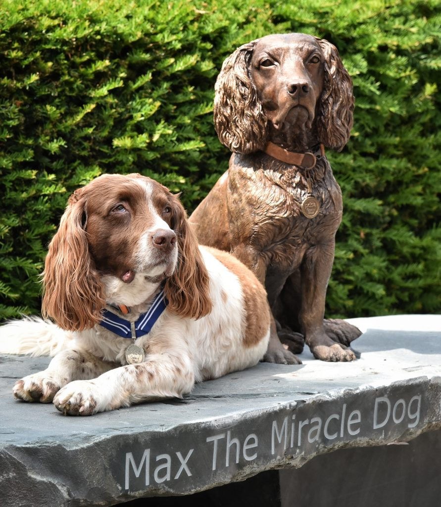 Max the Miracle dog next to his statue